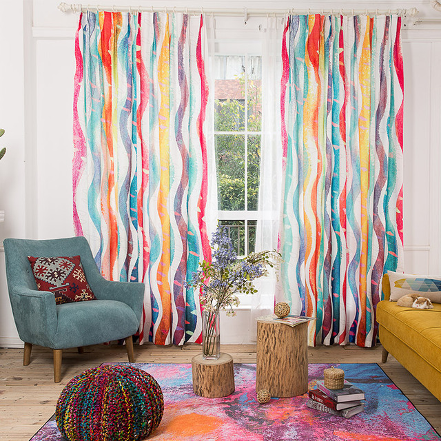 Environmental Linen Colorful Striped Curtains For Living Room Rain ...
