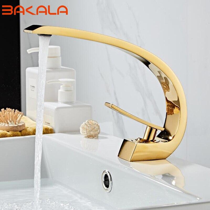 Livraison gratuite robinet de salle de bain en laiton chromé/doré/vert/noir. Robinet mitigeur avec eau chaude et froide. Robinets d'eau montés sur le pont