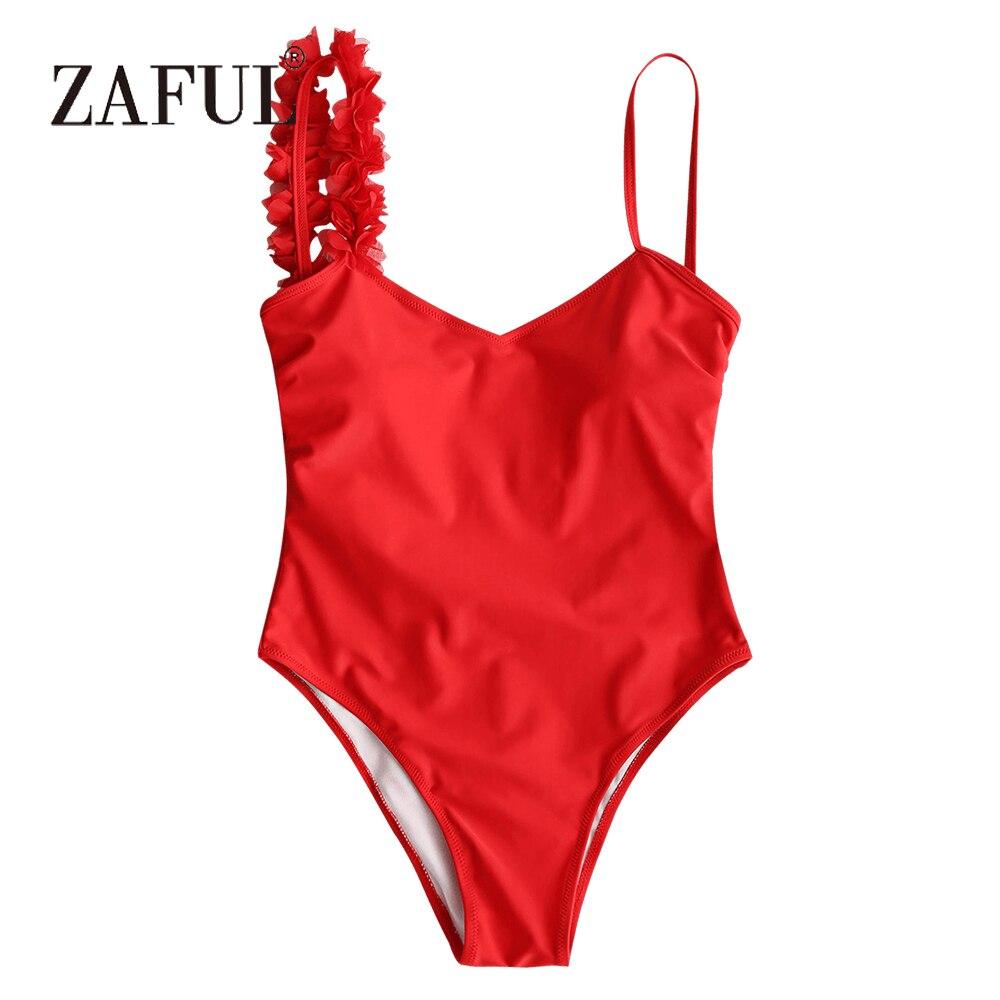 все цены на ZAFUL Women Low Back One Piece Swimsuit Stereo Flower Padded One Piece Swimwear Sexy Low Back Strap Solid SwimmingSuit Beachwear