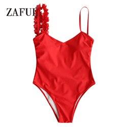 ZAFUL kobiety niski powrót jednoczęściowy strój kąpielowy Stereo kwiat wyściełane jednoczęściowy strój kąpielowy Sexy Low Back pasek stałe SwimmingSuit kostiumy kąpielowe 1