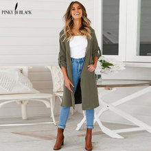 PinkyIsblack 2019 Spring Autumn Trench Coat for Women Elegant Long Sleeve Slim Warm Casual Female Open Stitch Outerwear Overcoat