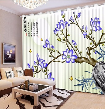 2018 3D Curtains Jade carving 3d curtains blackout window curtains modern