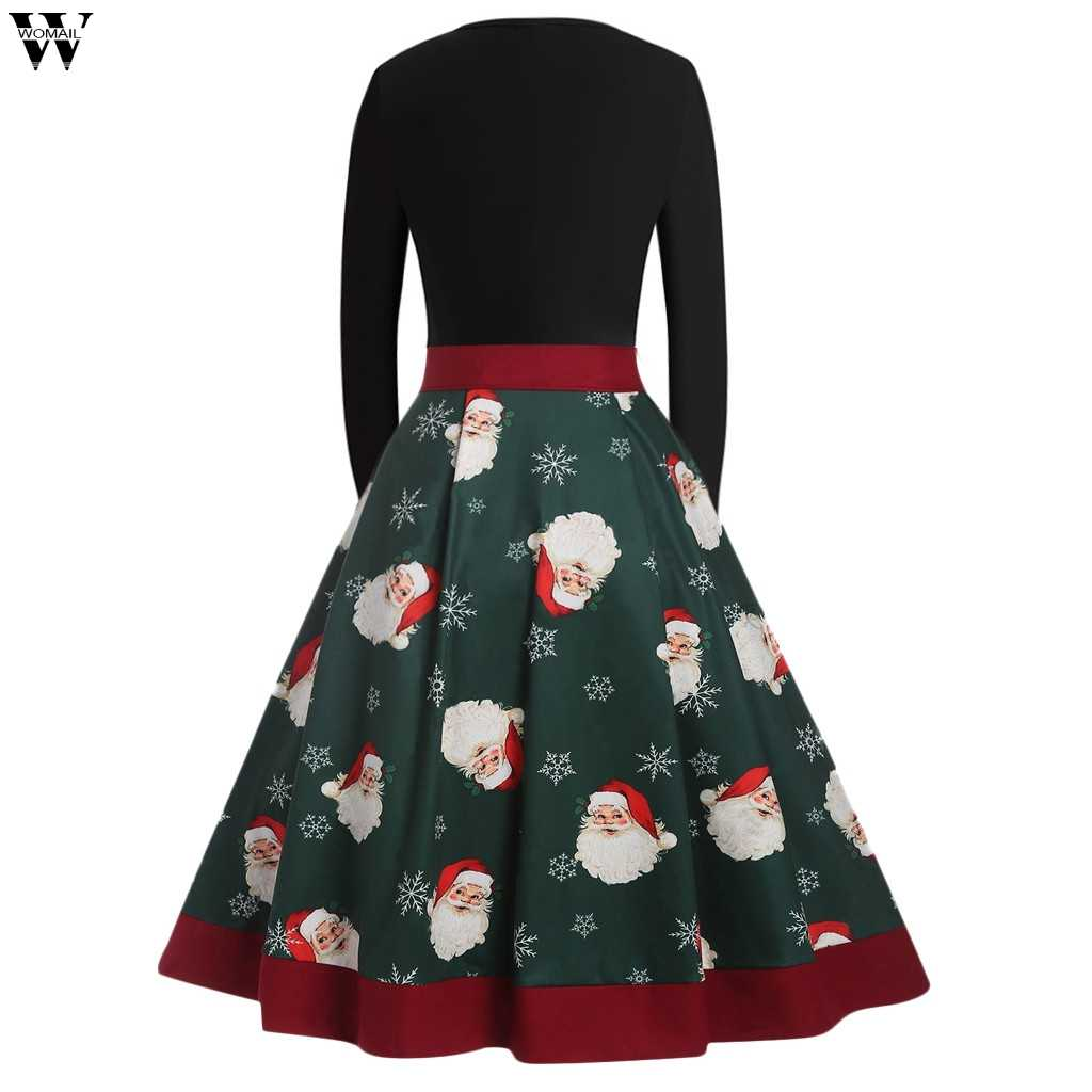 fd0fd95a482c5 ... Winter Christmas Dresses Women Vintage Robe Swing Pinup Elegant Party  Dress Long Sleeve Casual Plus Size ...