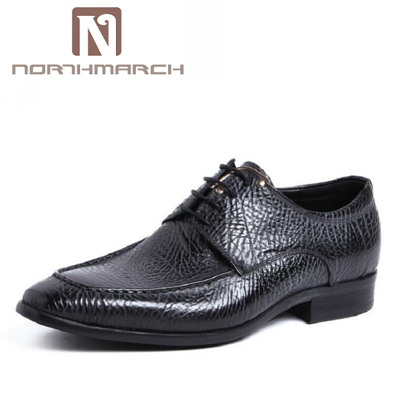 все цены на NORTHMARCH Genuine Leather Men Oxford Shoes Lace-Up Business Men Shoes Brand High Quality Embossed Dress Shoes Deep Blue онлайн
