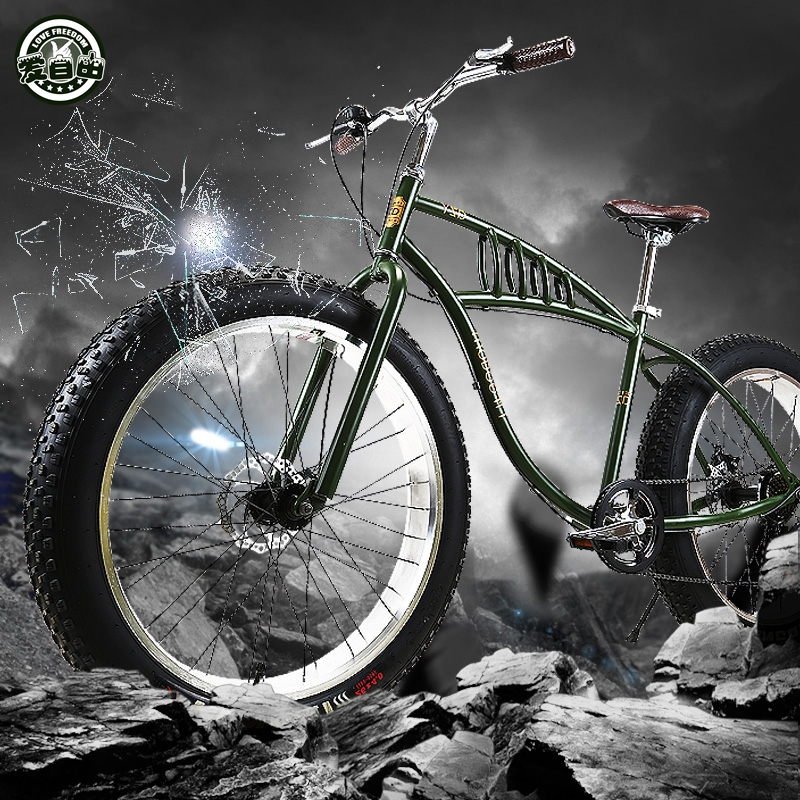 Love Freedom 26 Inch 7 /21 Speed Snow Bike 4.0 Super Wide Tire Mountain Bike Retro Male And Female Student Cycling Fat Tire Bike