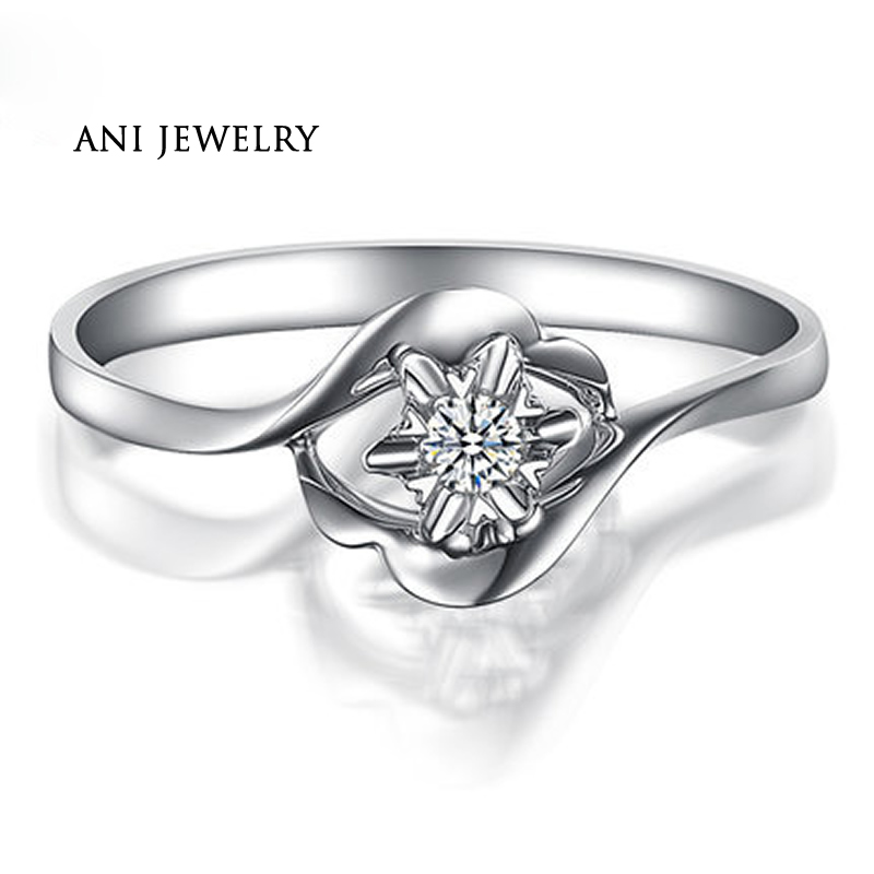 ANI 18K White Gold (AU750) Women Wedding Ring 0.03 CT Certified I/SI Natural Diamond Jewelry Twist Design Lover Anniversary Ring цена