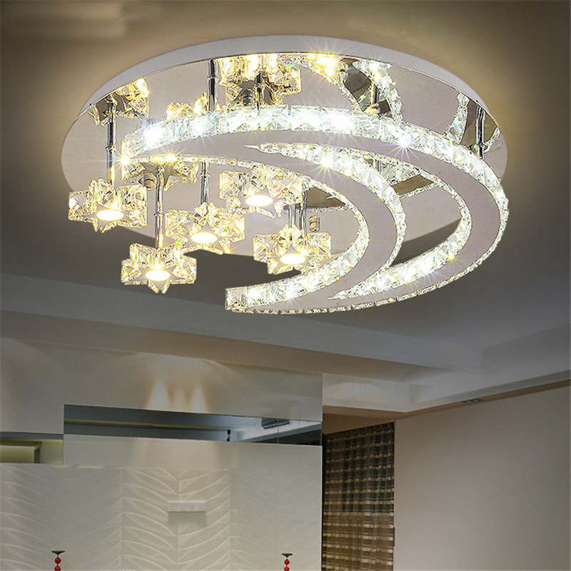 Modern design crystal led ceiling lights moon stars light for Luminaire de salon moderne
