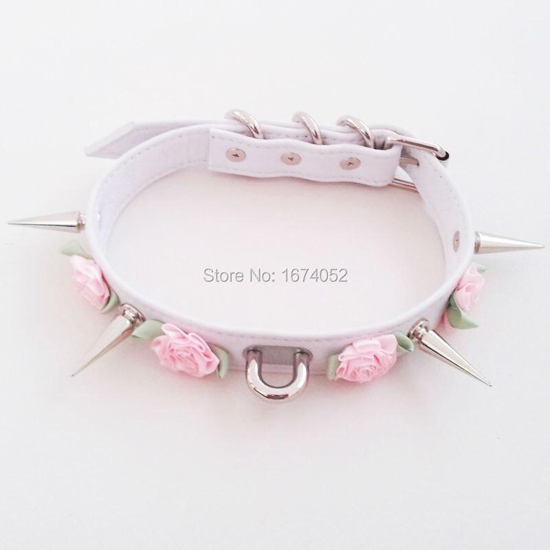 Moda harajuku kawaii rose flower 100% ręcznie długie kolce kolcami choker punk goth bondage kołnierz naszyjnik