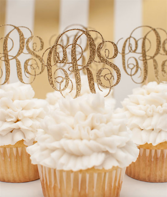 Custom monogrammed cupcake toppers in gold glitterpersonalized custom monogrammed cupcake toppers in gold glitterpersonalized initial cupcake topperwedding cupcake topper junglespirit Choice Image
