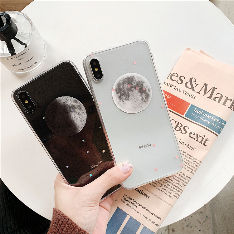 new style 1ed9f 2c2ad Luxury Shinning Cool Moon Sun Soft Covers For iPhone XR XS Max X 6 6S 7 8  Plus Love Heart Couples Phone Back Cover Case Gift