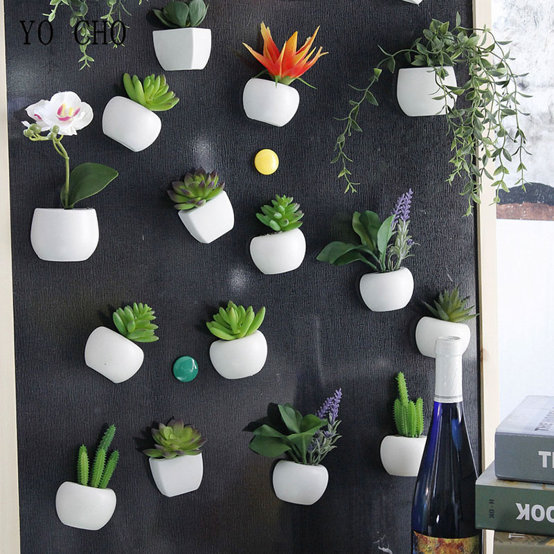 YO CHO Fridge Blackboard Magnet Sticker Artificial Potted Succulent Plants orchid DIY for Home Wall Decor Sticker Green Potted