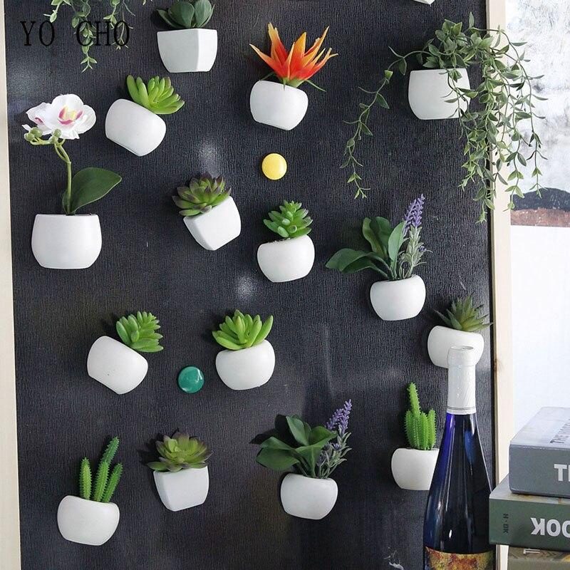 YO CHO магнитная наклейка на холодильник, доска, искусственные горшечные суккуленты, орхидеи, «сделай сам» для дома, Настенный декор, наклейка,...