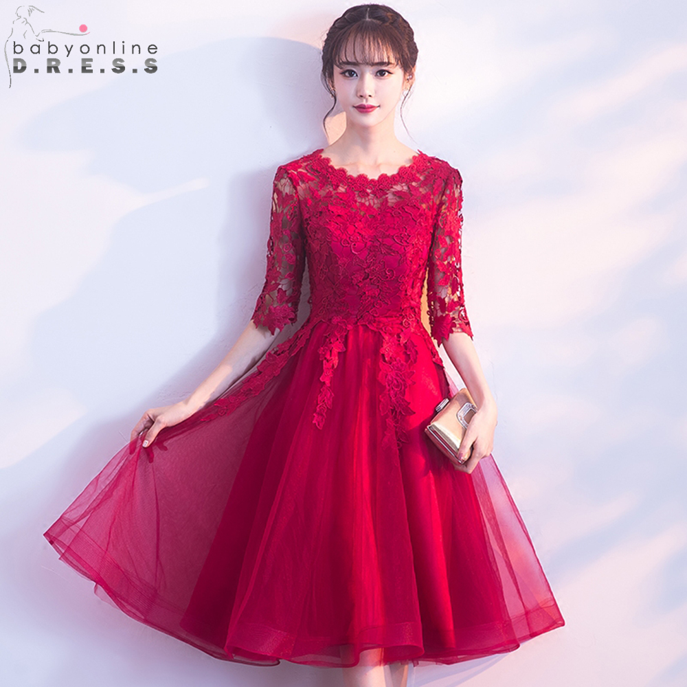 Babyonline Elegant Half Sleeves Burgundy Lace   Prom     Dresses   2019 Knee Length Party   Dresses   vestidos de graduacion