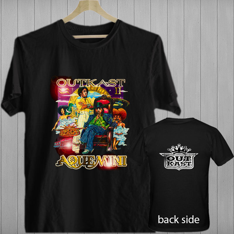 Outkast Aquemini Rap Hip Hop Music songs album black t-shirt shirts tee XS-3XL Print T shirt Summer Short image