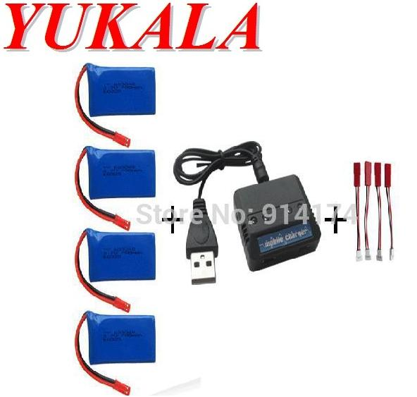 YUKALA wl zabawki V626 V636 V686 Q222 X250 V686G RC quadcopter 3.7 v 780 mah akumulator litowo-polimerowy * 4 sztuk + ładowarka