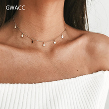 GWACC Boho Women Chocker Gold Silver Chain Star Choker Necklace Jewelry Gifts For Wedding Party New Simple Women's Necklaces gwacc multilayer chain cactus coin pendants necklaces gold choker necklace for women beach statement boho jewelry gifts