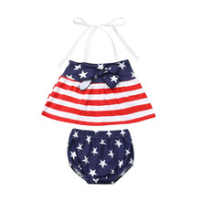 Cute Baby Girl Clothes Independence Day Baby Girls 4th of July Off-Shoulder Tops Shorts 2PCS Newborn Outfits Girls Clothing Set newborn baby girl clothes sleeveless tops shorts 2pcs outfits set 0 18m girls rompers clothing