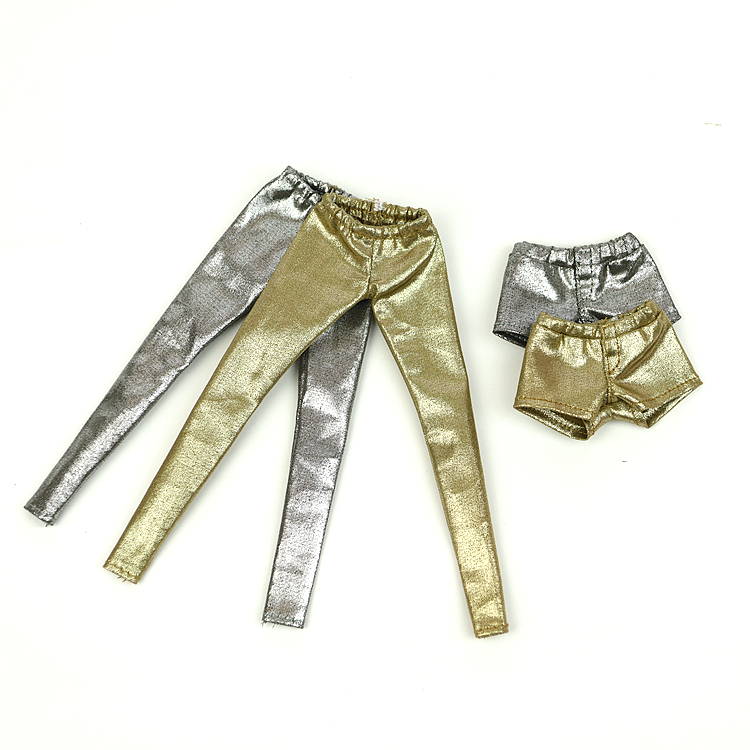 Golden Or Silver Long Pants Shorts / Doll Accessories Download Clothes Outfit For 1/6 Barbie XINYI FR Doll Baby Toys For Girls