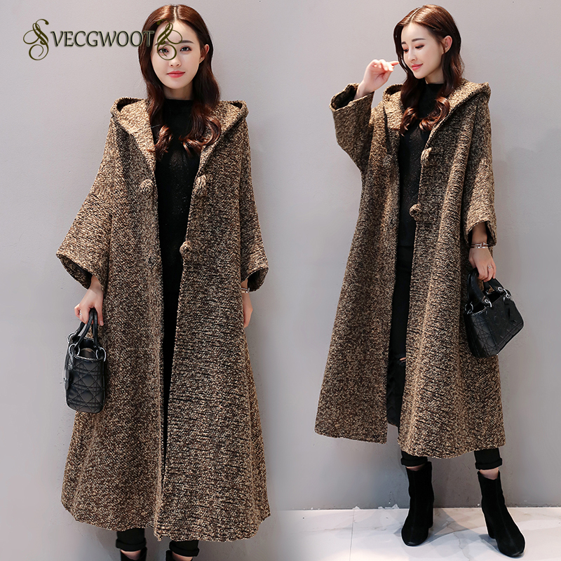 2018 Korean New Autumn Winter Bat sleeve Woolen coat Fat MM Plus size Long Hooded Loose Cardigan Woolen jacket Women WYT678