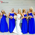 Charmming 2016 Bridesmaid Dresses Royal Blue Chiffon Custom Made Long Cheap Low Price Wedding Party Dresses Promotion