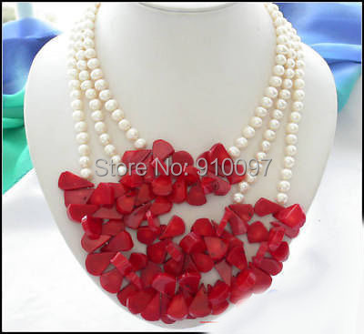 LHX54013>>> 3row white round freshwater pearl red coral necklace