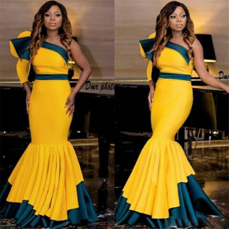 cd4a3e9b6ee54 African Mermaid Prom Dresses One Shoulder Ruffles Satin Two Colors Evening  Dress Formal Women Wear Pleated Skirt Gala jurken