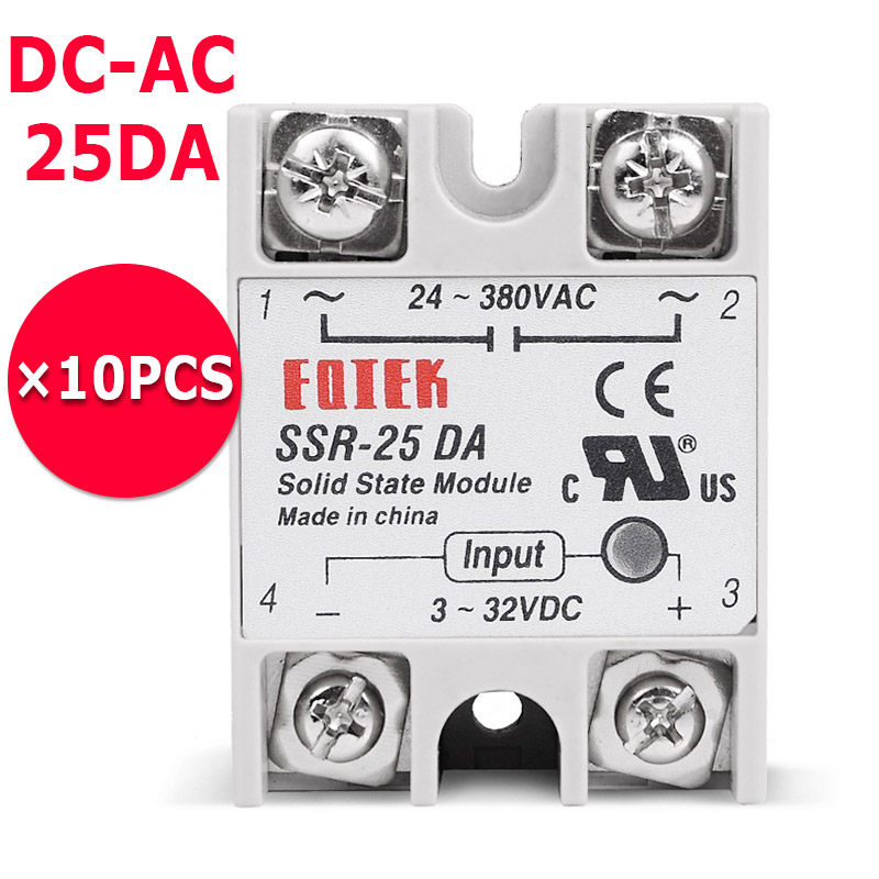 10PCS/Lot 25A DC to AC SSR Solid State Relay SSR-25DA normally open single phase solid state relay ssr mgr 1 d48120 120a control dc ac 24 480v