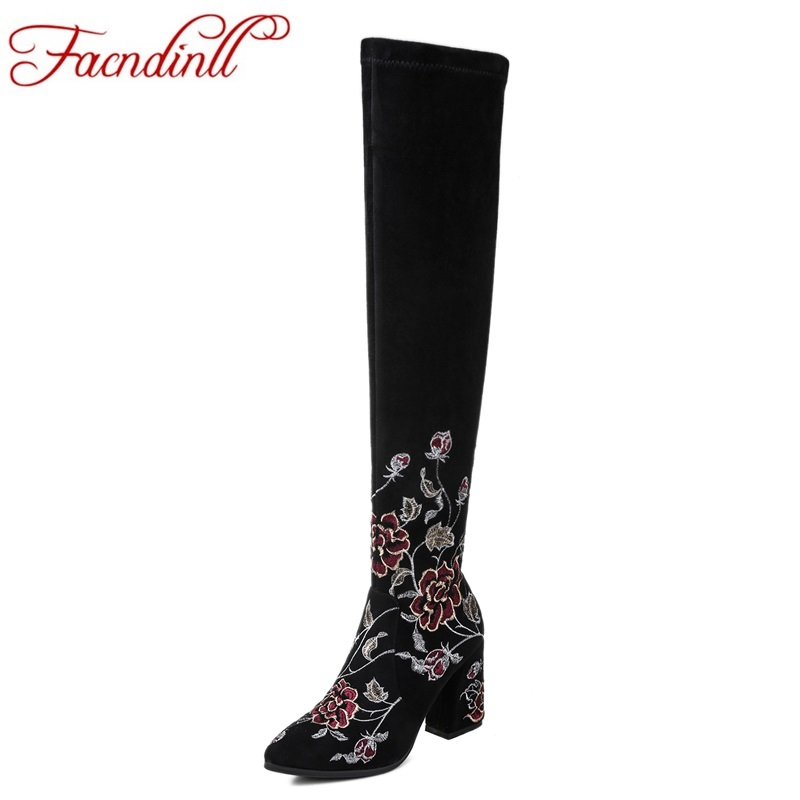 FACNDINLL shoes 2017 new fashion nubuck leather women over the knee high boots high quality square high heels black riding boots high quality women shoes fashion pointed toe nubuck leather boots over the knee slip on high thin heels long boots for women