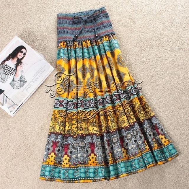 d8dc3efd96 2016 Moda de nueva Primavera Verano Mujer doble dos desgaste Bohemio falda  de flores de Gasa
