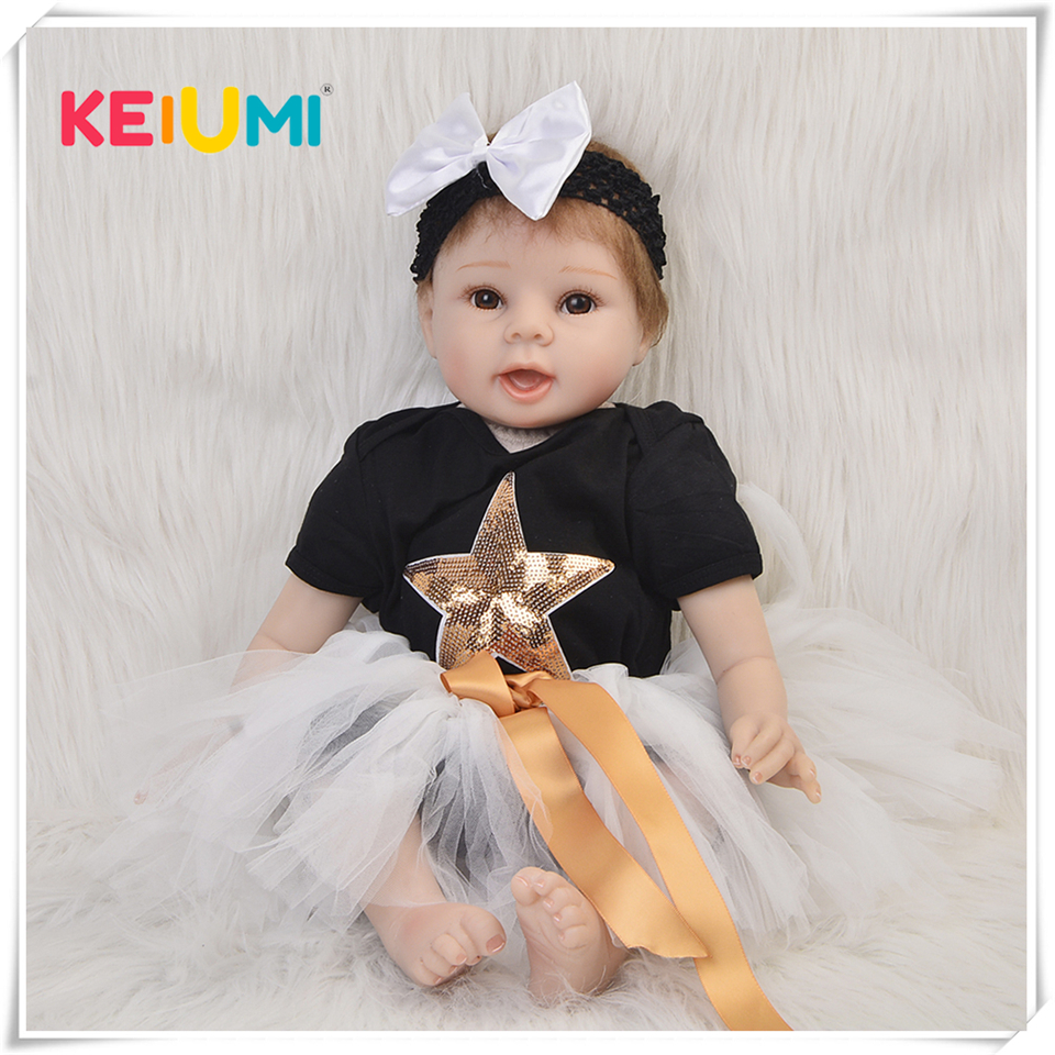 New Arrival 22'' Realistic Reborn Dolls Soft Silicone Vinyl Newborn Doll 55cm Fashion Princess Babies Toy For Girl Kid Xmas Gift multi colors 18 inch american girl doll fair skin princess doll cute soft plastic reborn dolls babies girl dolls for kid s gift
