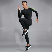 2019 Long Sleeve Men's Sports Suit Sets In Quick Dry Run Basketball Gym Jogging Suit Sport Yoga Fitness Set Compression Clothing цена и фото