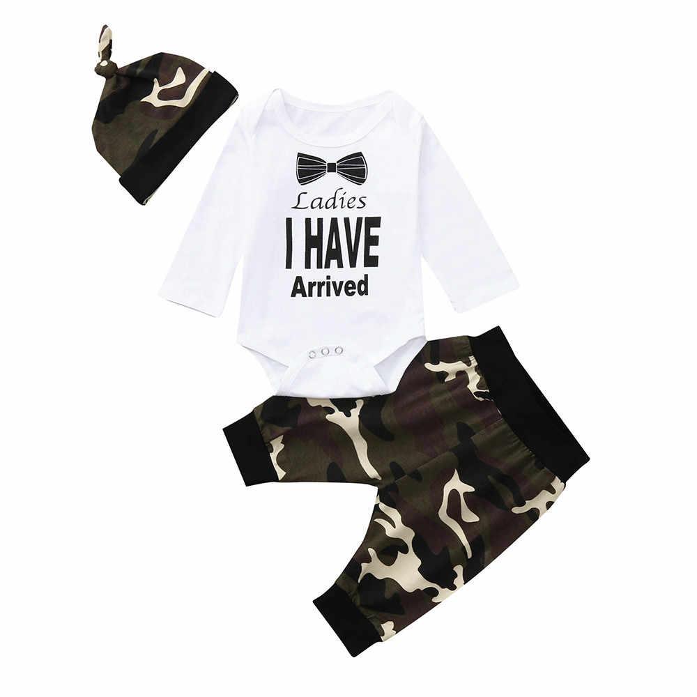 9573c6a80e4dd MUQGEW Hot sale Newborn Infant Baby Boy Letter Romper Tops Camouflage Pants  Hat Clothes Set Dropping