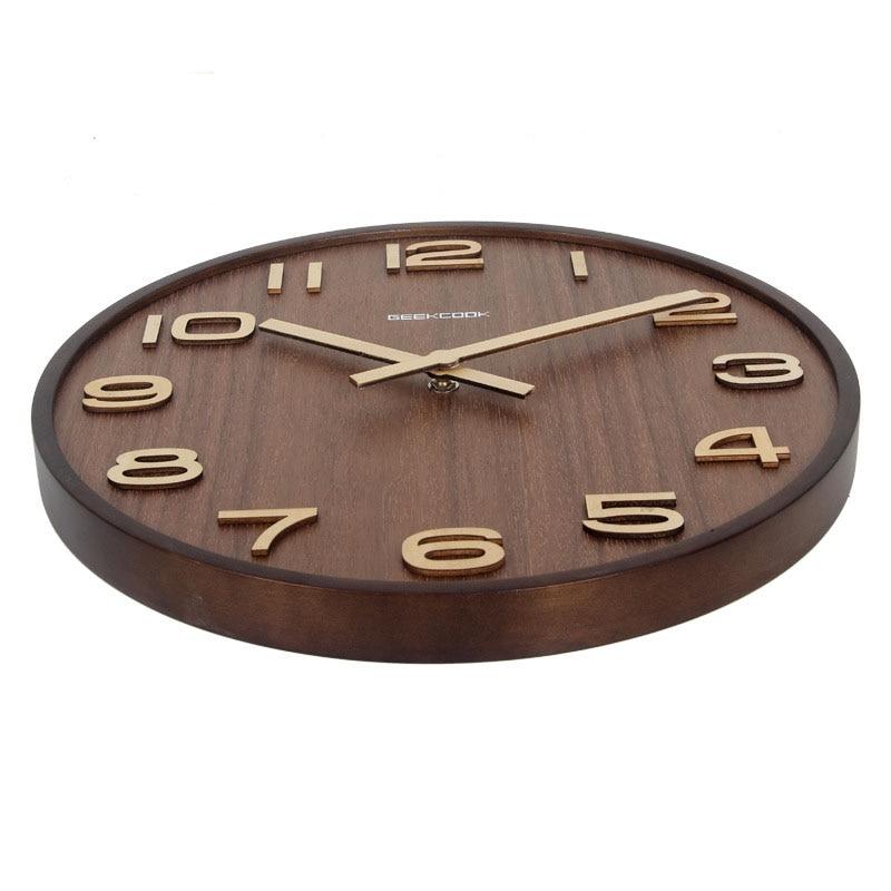 14 inch Digital Wall Clock Simple Modern Design Wooden Clocks Bamboo Watch 3D Decorative Hanging Living Home bedroon study Decor