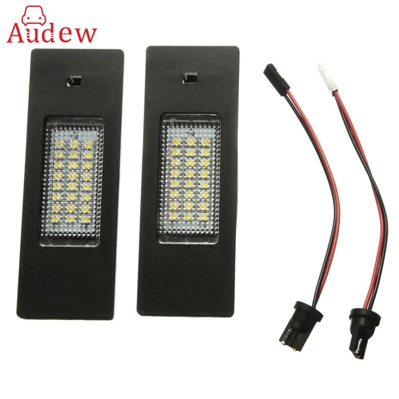 2шт светодиодная подсветка 24 СИД SMD освещения номерного знака номерного знака Лампа для BMW Е63 Е81 Е87 F06 Ф12 Ф20 Z4 в аренду автомобиль светодиодные лампы стайлинг Источник света