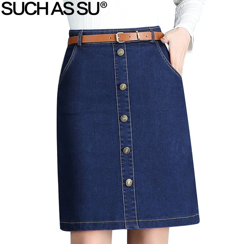 SUCH AS SU New Spring Summer Fashion Women Vintage Blue Denim Skirts S-3XL Knee-Length Single-Breasted High Waist A Line Skirt