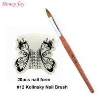 Ekonomik Pratik Akrilik Nails Aracı Kit BOYUT no.4 12 Kolinsky Samur Akrilik Tırnak Sanat Fırça + 20 adet Beyaz Kelebek tırnak Formu