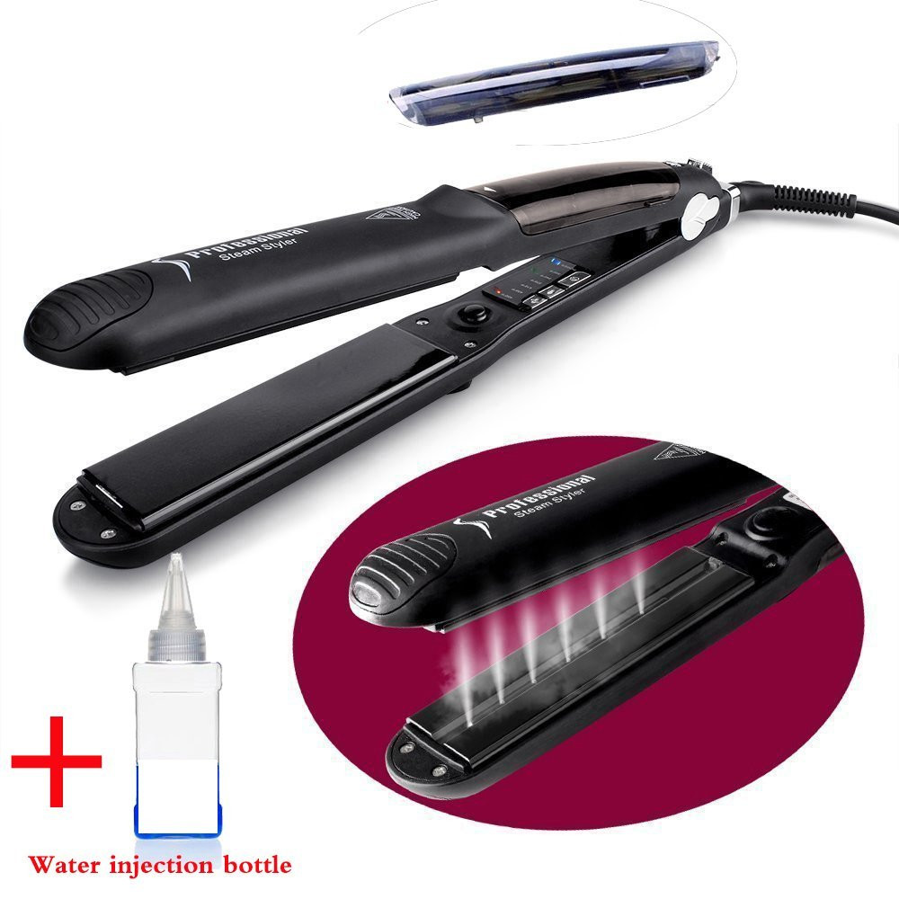 2018 Steam Hair Straightener Argan Oil Vapor System Tourmaline Ceramic Salon Hair Straightening Flat Iron Hair Styling Tools titanium plates hair straightener lcd display straightening iron mch fast heating curling iron flat iron salon styling tools