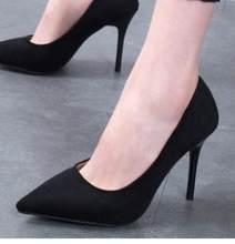 f73332a470596 2018 nouvelle fille chaussures de haut talon stiletto femmes pointu noir  sauvage l étiquette chaussures professionnelles.
