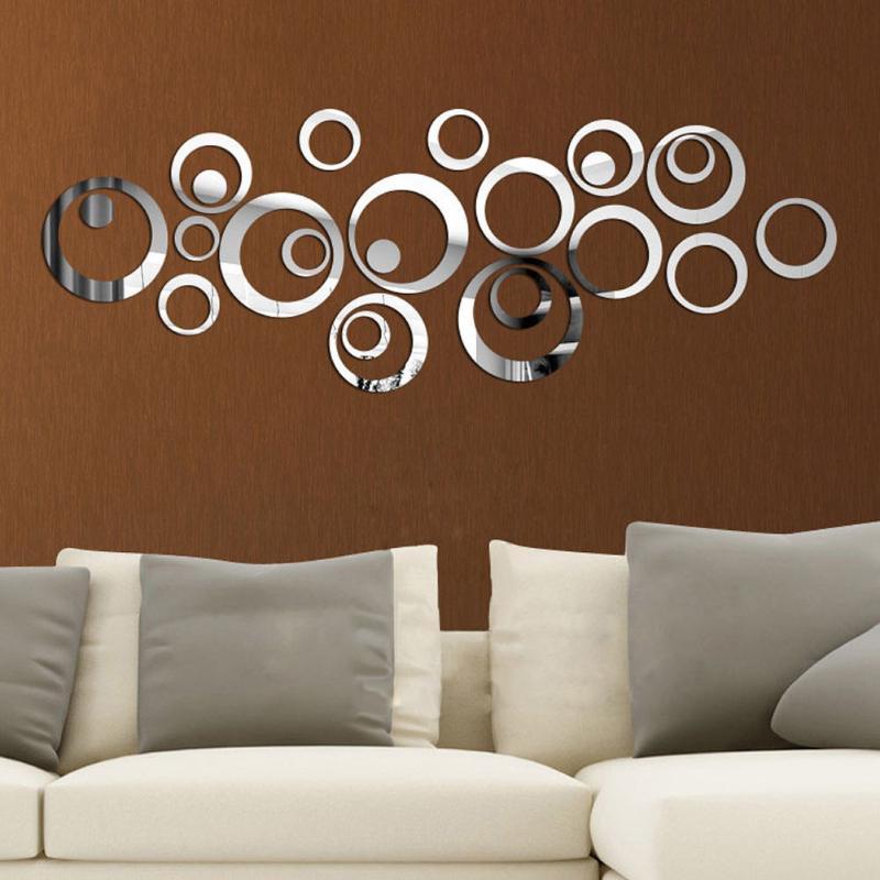 24pcs/set 3D DIY Circles Mirror Wall Sticker Decoration for TV Background Bedroom Door Freezer Home Decor Acrylic Decoration