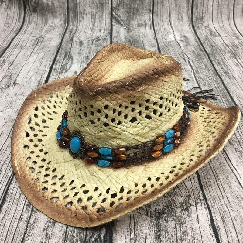 De los hombres de verano hecha a mano de rafia hueco sombrero de vaquero  con el Punk cuerda occidental las mujeres amplia Curling ala gorra de sol  ... e3d0baac1df