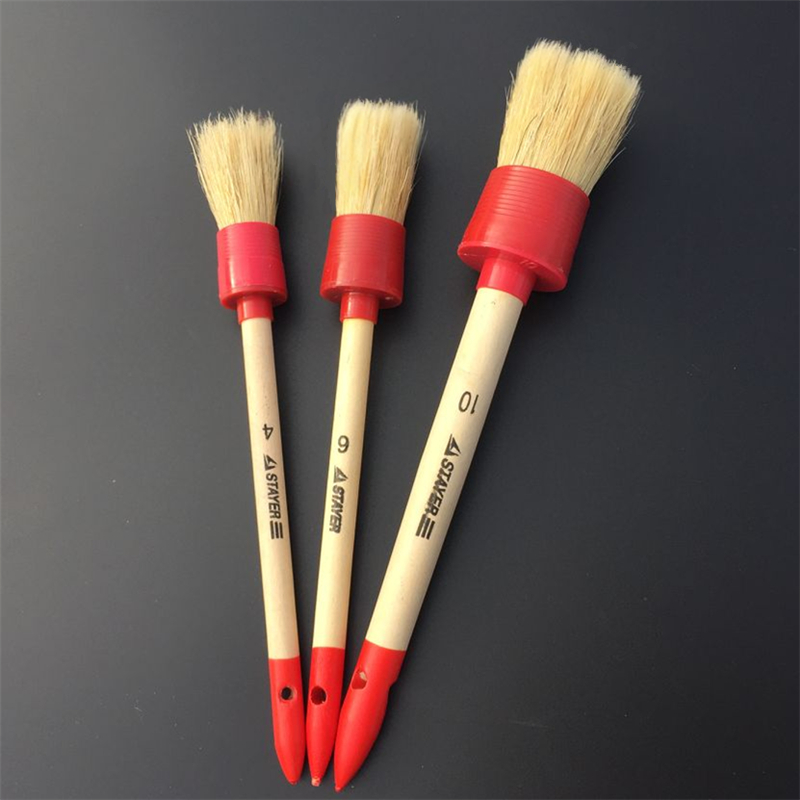 3pcs lot wood handle car detailing brushes for interior dashboard rims wheel air conditioning. Black Bedroom Furniture Sets. Home Design Ideas