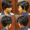 100% Human Real Hair African American Star on line Short Cut Layered Wigs For Black Women Short Pixie Cut Glueless Black Wigs