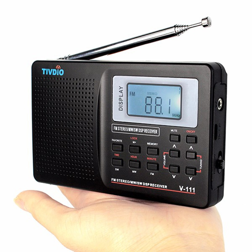 TIVDIO Portable FM Radio DSP FM Stereo/MW /SW /LW Portable Radio Full Band World Receiver Clock&Alarm 9KHZ /10KHZ Radio FM F9201 10 pcs pocket radio 9k portable dsp fm mw sw receiver emergency radio digital alarm clock automatic search radio station y4408h