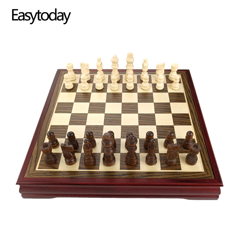 Easytoday Wooden Chess Game Set Wood Chess Pieces Short Tea Style Puzzle Chessboard Table Games High quality Entertainment Gift