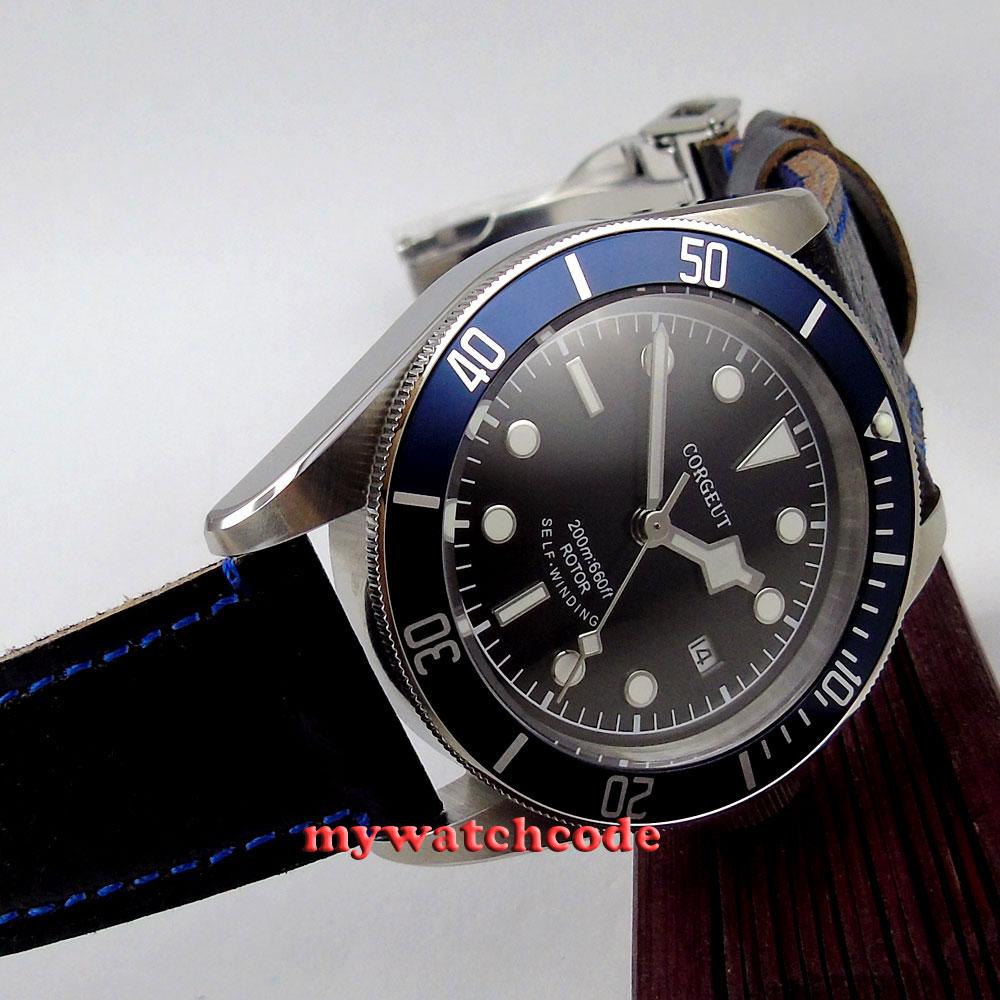 41mm corgeut black dial luminous Sapphire Glass Automatic mens diving Watch c9 цена