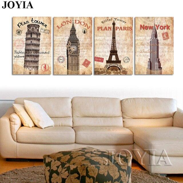 4 Pieces Classical Canvas Wall Art Painting Prints World Landmark ...