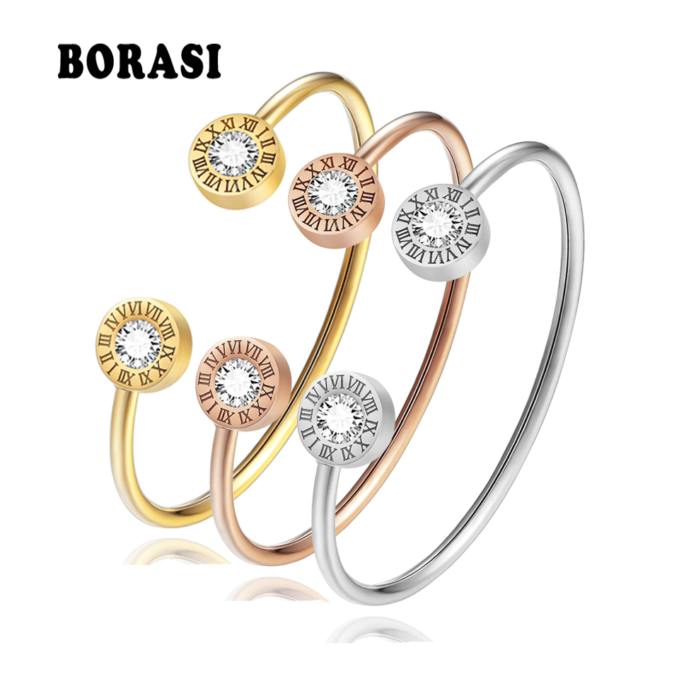 Adjustable Open Stainless Steel Bracelets & Bangles 3 Color Cuff Bracelet For Women Roman Letters Crystal Jewelry Gift For Girls