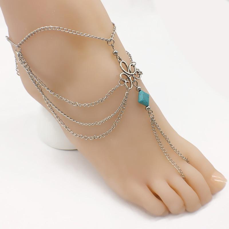 Bohemian Ankle Bracelet Beach Wedding Foot Bracelet Gothic Jewelry Barefoot Sandals Chain Fashion Summer