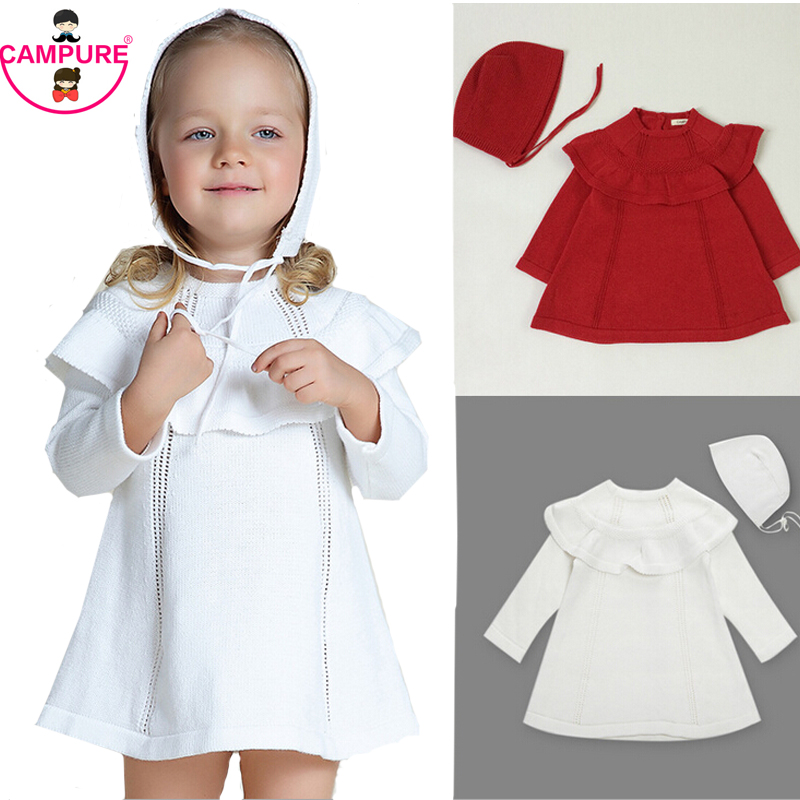 2015 Autumn Girl Princess Sweater Dress Knitted Cute White