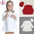 2015 Outono Menina Vestido de Princesa Camisola de Malha Bonito Branco Vermelho Vestido de bebê Novas Crianças Manga Longa Na Altura Do Joelho-Comprimento Vestido Para Bebê menina
